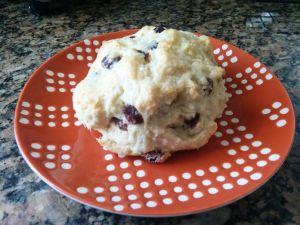 one scone on plate