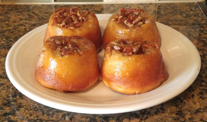 pecan sticky buns white plate